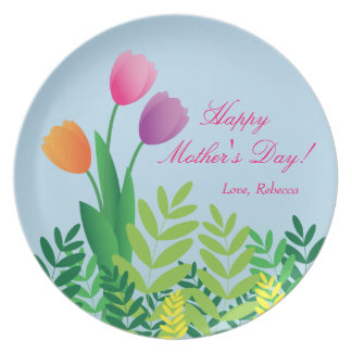 Colorful Tulips, Happy Mother's Day Dinner Plates