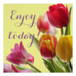 Colorful Tulips with Customizable Quotation Poster