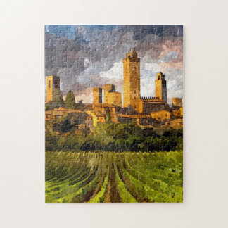 Colorful Tuscany Castle Aquarelle Painting Puzzle