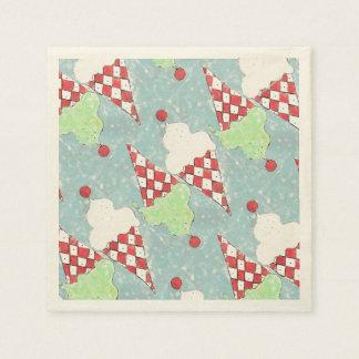 Colorful Twin Argyle Ice Cream Cones Paper Napkins