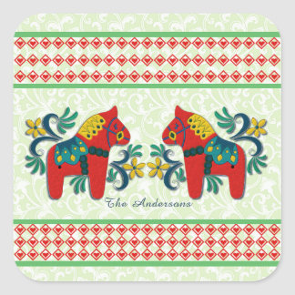 Colorful Twin Swedish Dala Horses Christmas Custom Square Sticker