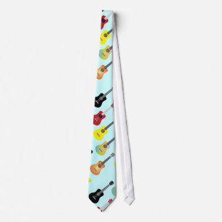 Colorful Ukulele Patterns Mint Blue Tie
