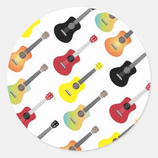 Colorful Ukulele Patterns Music Round Sticker