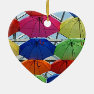 colorful Umbrella Ceramic Heart Ornament