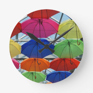 colorful Umbrella Round Clock