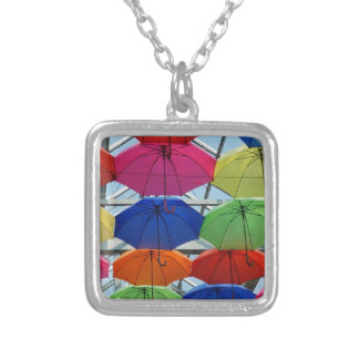 colorful Umbrella Silver Plated Necklace