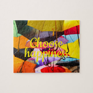 Colorful umbrellas // Choose Happiness Jigsaw Puzzle