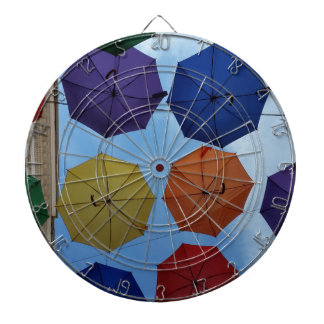 Colorful umbrellas dartboard