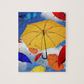 Colorful Umbrellas Floating in the Sky Puzzles