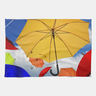 Colorful Umbrellas Floating in the Sky Towels