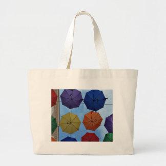 Colorful umbrellas large tote bag