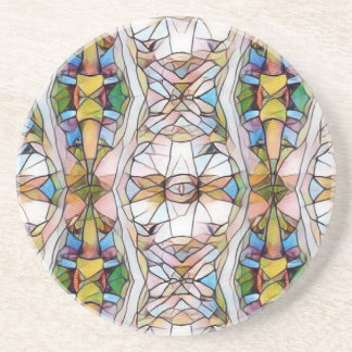 Colorful Uncommon Stained Glass Tribal Pattern Beverage Coaster