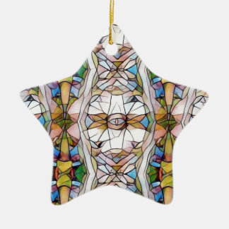 Colorful Uncommon Stained Glass Tribal Pattern Ceramic Star Ornament