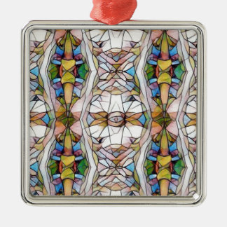 Colorful Uncommon Stained Glass Tribal Pattern Metal Ornament