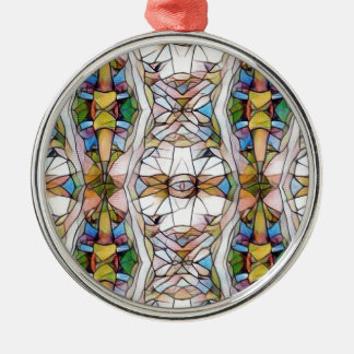 Colorful Uncommon Stained Glass Tribal Pattern Silver-Colored Round Ornament