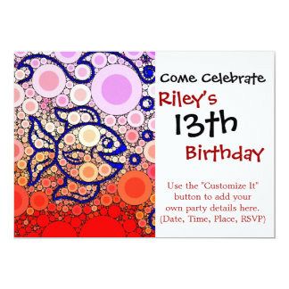 Colorful Under the Sea Bubbly Fish Swimming Mosaic Card