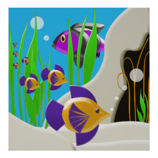 Colorful Underwater Fish Poster Wall Art