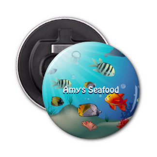Colorful Underwater Scene Cartoon Button Bottle Opener