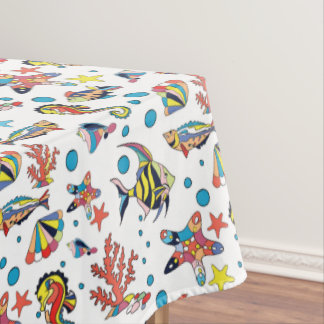 Colorful Underwater Sea Life Pattern Tablecloth