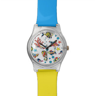 Colorful Underwater Sea Life Pattern Wrist Watch