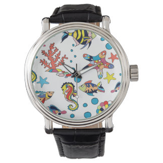 Colorful Underwater Sea Life Pattern Wristwatch