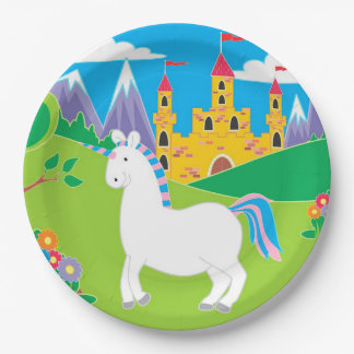 Colorful Unicorn Birthday Party Plates 9 Inch Paper Plate
