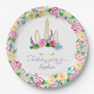 Colorful Unicorn Watercolor Pink Floral Birthday Paper Plate