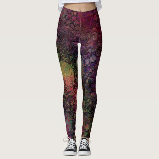 Colorful, Unique, Crazy with Hand Drawn Circles Leggings