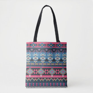 Colorful Unique Geometric Abstract Tribal Pattern Tote Bag