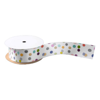 Colorful Unisex Bold Polka Dot Confetti Ribbon Satin Ribbon