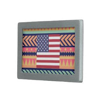 Colorful United States Flag Box Belt Buckle