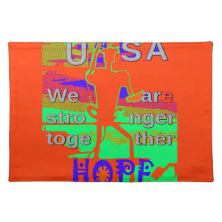 Colorful USA Hillary Hope We Are Stronger Together Placemats