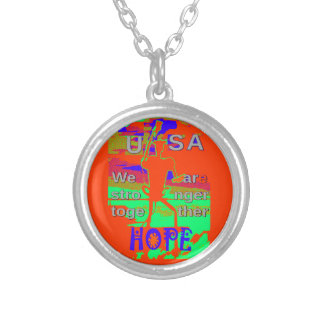 Colorful USA Hillary Hope We Are Stronger Together Silver Plated Necklace