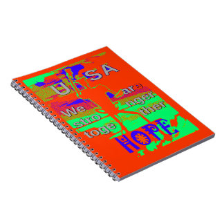 Colorful USA Hillary Hope We Are Stronger Together Spiral Notebook