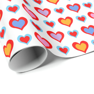 Colorful Valentine Hearts Pattern Wrapping Paper