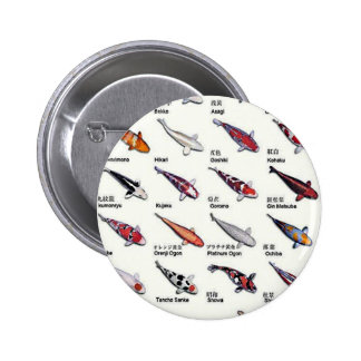 Colorful Varieties of Koi Fish Drawing Pattern 2 Inch Round Button