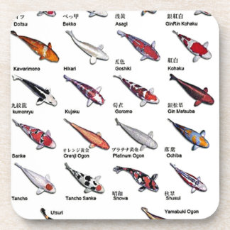Colorful Varieties of Koi Fish Drawing Pattern Coaster