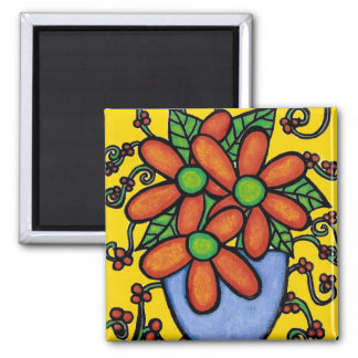 Colorful Vase Of Flowers Magnet