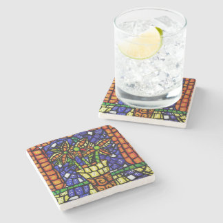 Colorful Vase Of Flowers Stone Coaster