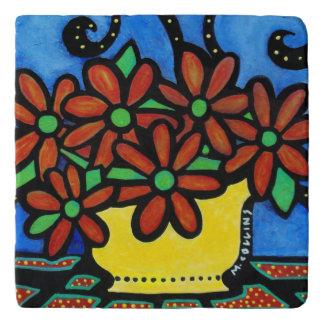 Colorful Vase Of Flowers Trivet