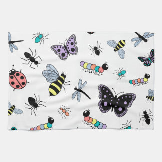 Colorful Vector Bugs & Butterflies Kitchen Towel