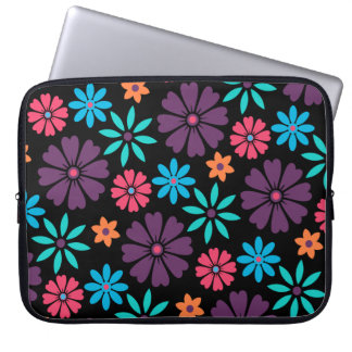Colorful Vector Flower Pattern Laptop Sleeve