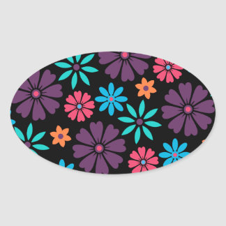 Colorful Vector Flower Pattern Oval Sticker