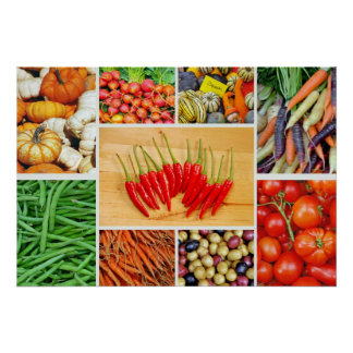 Colorful vegetable collage poster