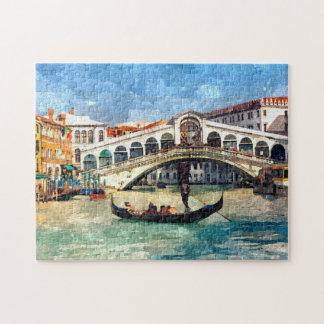 Colorful Venice Canal Grande Aquarelle Painting Puzzles