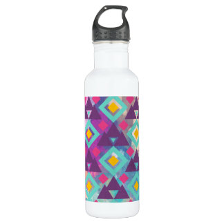 Colorful vibrant diamond shape boho batik pattern 710 ml water bottle