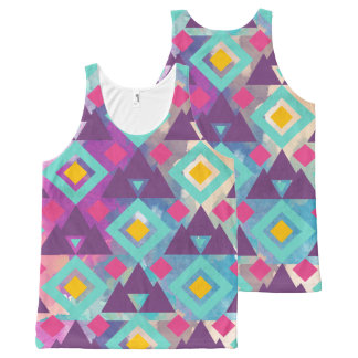 Colorful vibrant diamond shape boho batik pattern All-Over-Print tank top