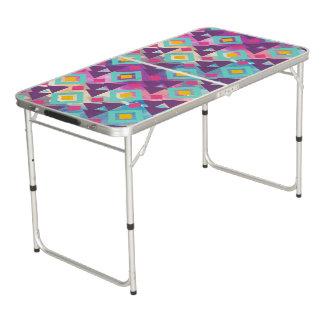 Colorful vibrant diamond shape boho batik pattern beer pong table