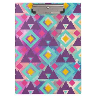 Colorful vibrant diamond shape boho batik pattern clipboards