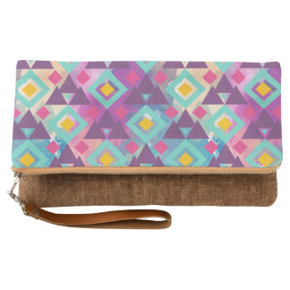 Colorful vibrant diamond shape boho batik pattern clutch